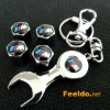 BMW-M logo car tire valve caps 4pcs +wrench key chain(FD-CAP-BMW-M)
