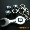 BMW logo car tire valve caps 4pcs +wrench key chain(FD-CAP-BMW)