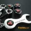 MITSUBISHI logo car tire valve caps 4pcs +wrench key chain(FD-CAP-MITSUBISHI)