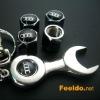 free shipping Audi logo car tire valve caps 4set +wrench key chain(FD-CAP-Audi)